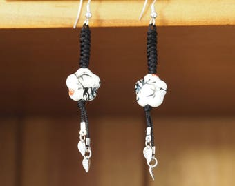 BAMBOO earrings with Asian inspired ceramic bead