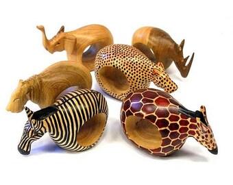 Mahogany Wooden Animal Napkin Rings Set of 6  0c8081f56c5f