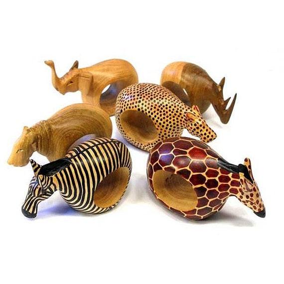 Mahogany Wooden Animal Napkin Rings Set Of 6 Animal Napkin Rings Animal Figurines Small Wooden Animals Ring Napkin Rings Napkin