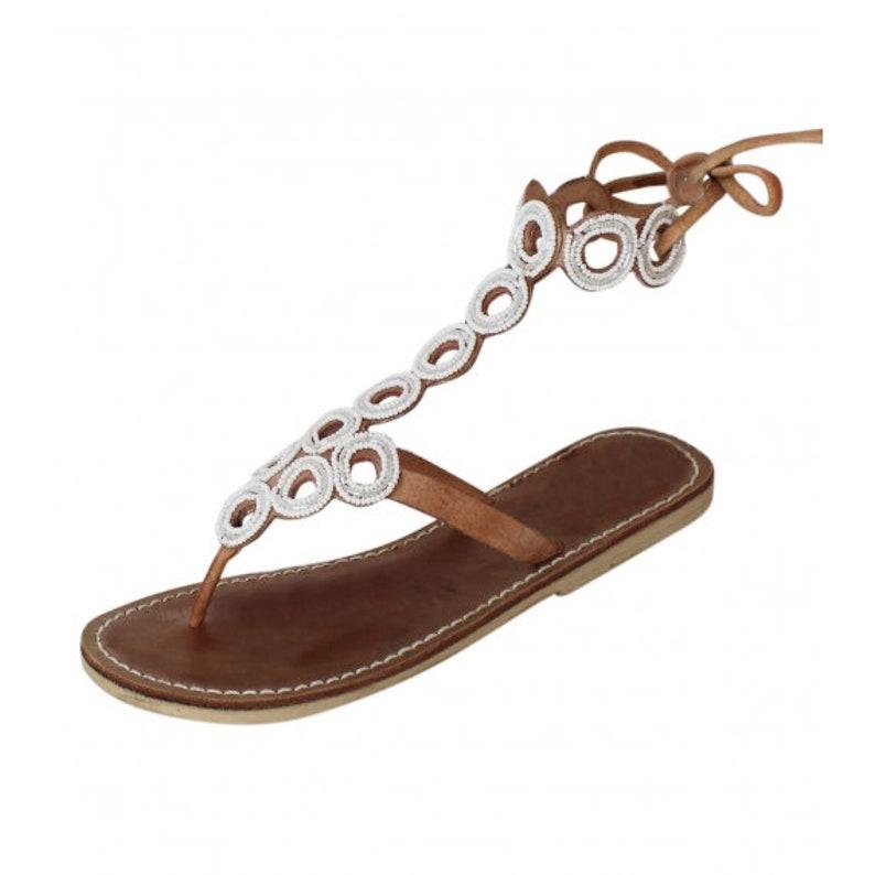 181224765c932 Flat Bead Gladiator Strappy sandals , Greek sandals , Roman sandals .  Summer gladiator sandals , Sandy reef sandals , Boho sandals , Sandals