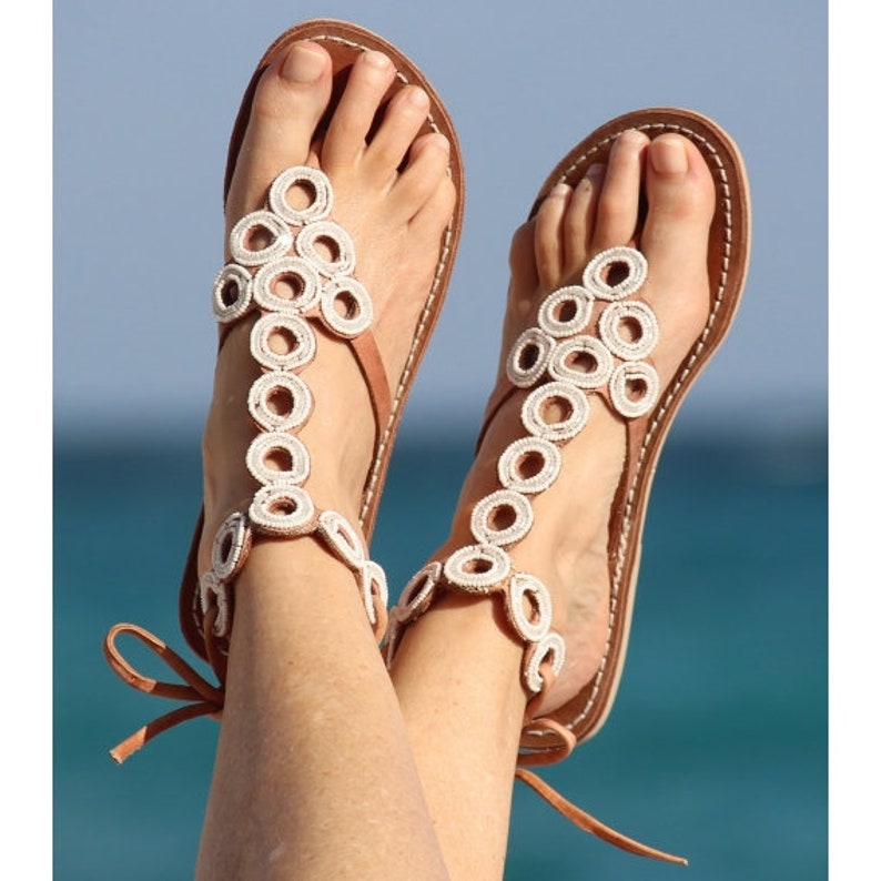 432351fdd39b Flat Bead Gladiator Strappy sandals Greek sandals Roman