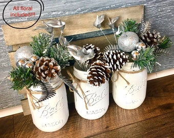 christmas table decor christmas centerpiece mason jar decor mason jar centerpieces christmas decorations rustic holiday decor canada - Rustic Christmas Centerpieces
