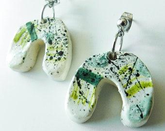 Ceramic U Shaped Drop Earrings