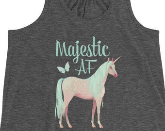 Women's Flowy Racerback Watercolor Unicorn Tank Top Perfect for Warm Summer Days