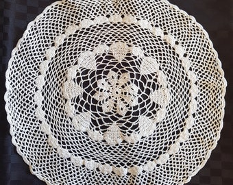 Vintage Crocheted Doily Large White Round