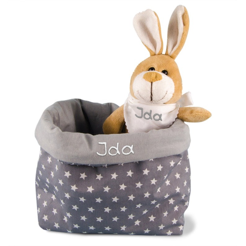 Easter gift Easter baskets with bunnies personalised cloth baskets-gift at Easter with name set of cuddly toy bunny and utensilo