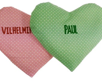 Heat pillow filling rapeseed heart dots with names-for babies green pink shape: Heart-rapeseed cushion grain cushion heart cushion for heating