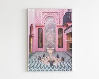 Marrakesh Print, Marocco Poster, Boho Decor, Maroccan Wall Art, Riad Architecture, Travel Poster, African, Pink Pattern, Ornament Oriental