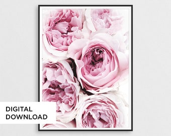 Pink Peony Print, Peonies Poster, Flower Print Decor, Floral Art Print, Dust Pink Paeony, Rose Wall Art, Peony Photography, Digital Download