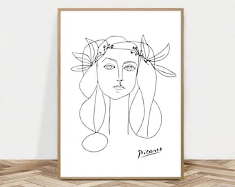 Picasso Art Print, Figurative Sketch, Drawing, Picasso Wall Art, Digital Download, Head of Woman, Pablo Line Art, Picaso Poster, Instant Art