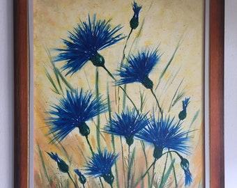 Cornflower aquarell paint on canvas