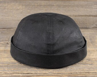 121bf78b89861a Docker Cap - Wax Cotton Black - Handcrafted in Berlin.