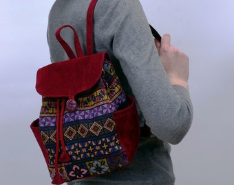 32d129ee5d1 Multicolor red backpack canvas tapestry bag small backpack women hipster  backpack purse, college shoulder bag, birthday gift for her