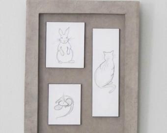Brown frame, animal pencil drawings / original pencil drawing / child frame