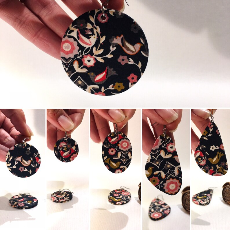 lightweight earrings black fabric printed birds and flowers handcrafted creation Large triangular