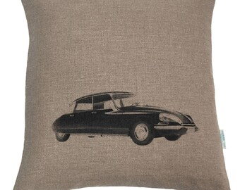 Linen cushion, natural 50x50cm screen DS 1955, made in France