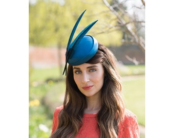 Aquila Teal- Silk and Feather Hat