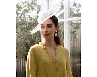 Mono- Stylish asymmetrical white hat