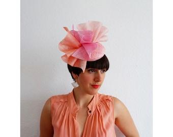 Azalea- Sculptral Peach, Coral and Pale Pink Hat