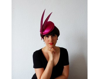 Aquila Magenta- Silk and Feather Hat