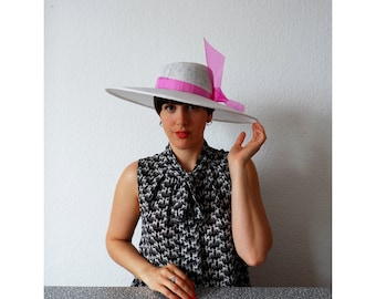 J'adore- Wide brimmed White Sinamay Hat