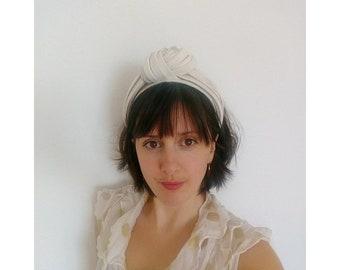 Chunky Ivory and Silver Turban Headband