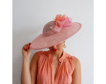 Adira- Gorgeous sinamay hat in tones of Peach, Pink and Coral