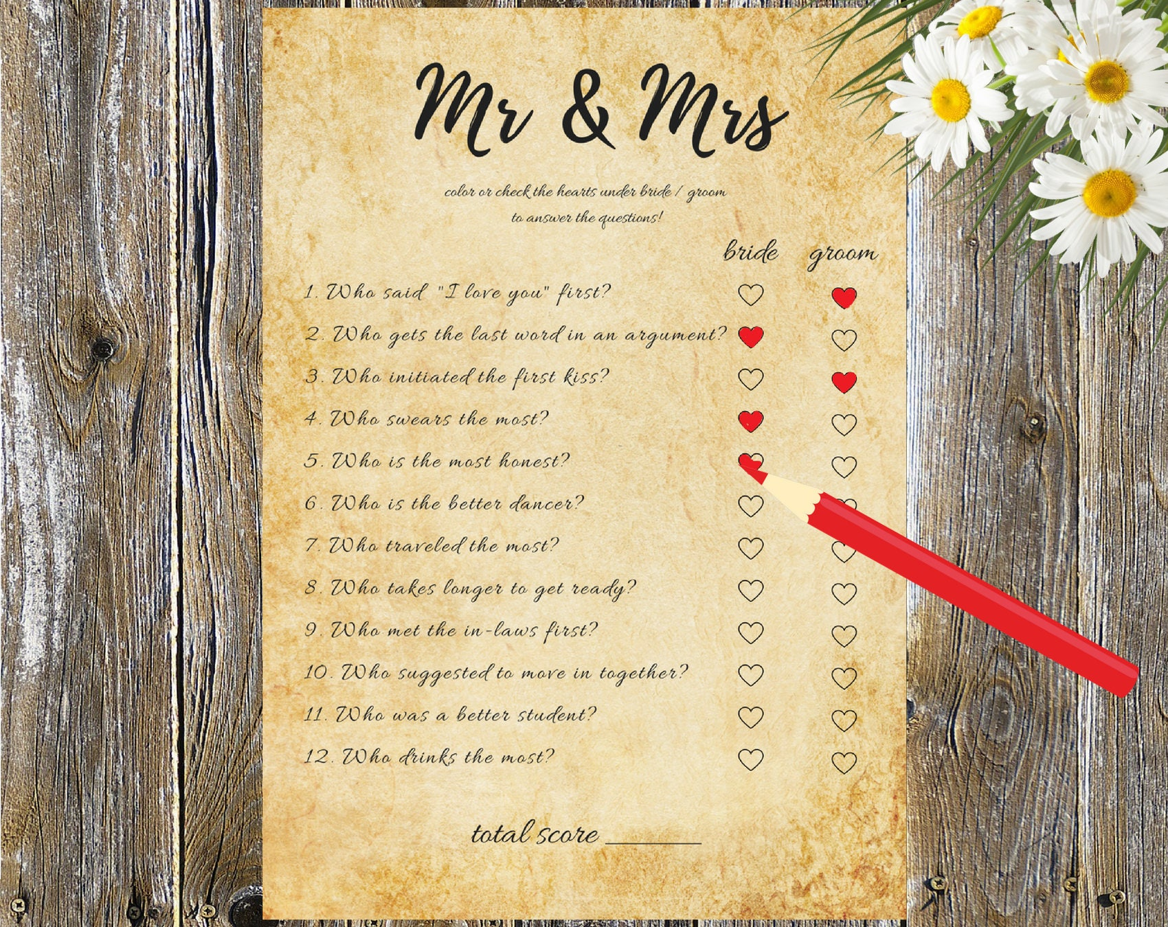 Mr And Mrs Questions Wedding Game Hen Party Game Mr And