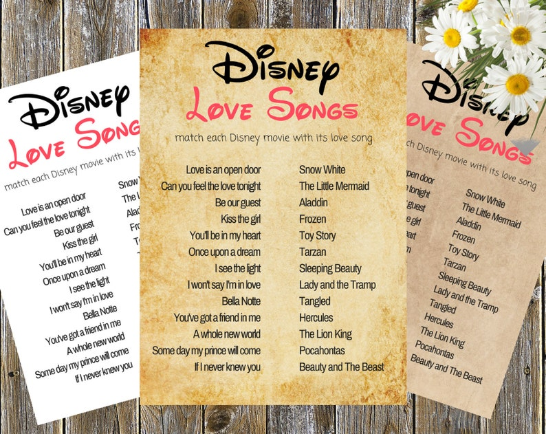 Disney Wedding Songs.Disney Love Songs Guess The Disney Song Disney Bridal Shower Game Disney Song Quiz Disney Love Song Game Disney Song Challenge Wedding