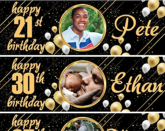 2 X Birthday Banner Personalized Gold 18th 30th 40th 50th Photo Adults Balloon Party Poster Decoration Any Nameageoccasion Wedding