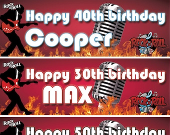 2 X Birthday Banner Personalized 30th 40th 50th Adults Rock N Roll Music Fire Party Poster Decoration Any Nameageoccasion Wedding