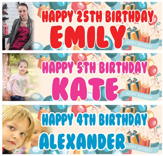 2 Personalised Birthday Banner Photo Children kids Baby Party poster decoration