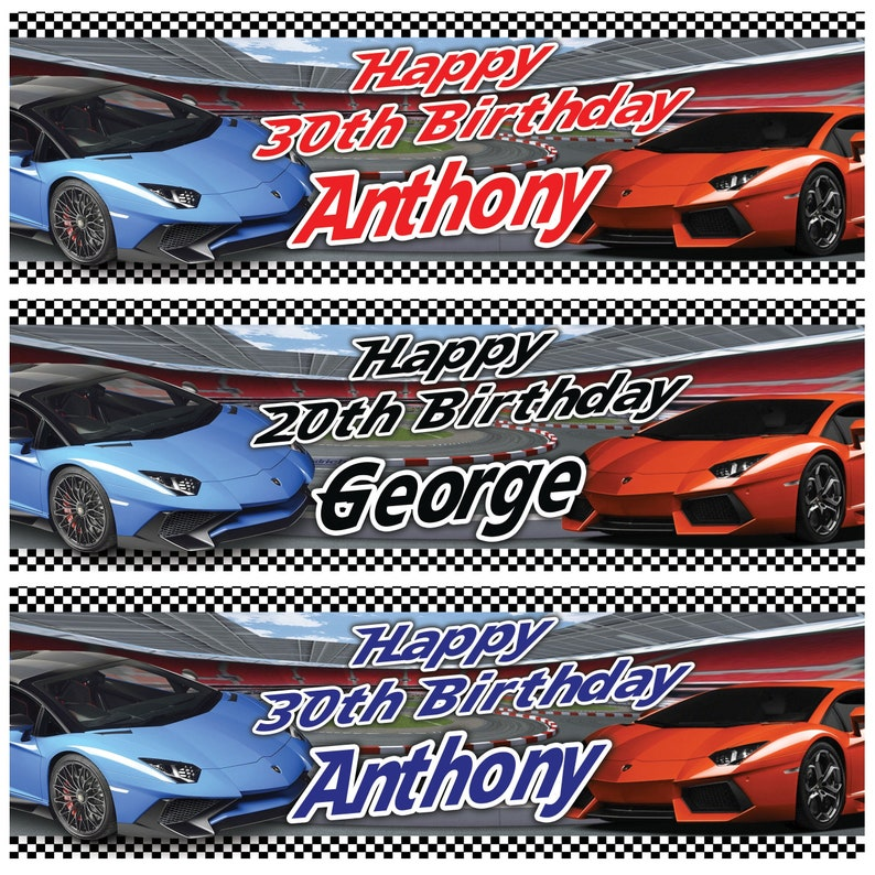 2 personalised birthday banner super car fast lamborghini children adult kids party poster decoration
