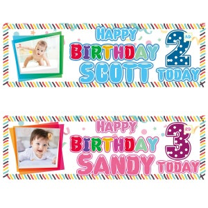 X 2 PERSONALISED BOYS BIRTHDAY PHOTOGRAPH NAME BANNERS KIDS PARTY DECORATIONS