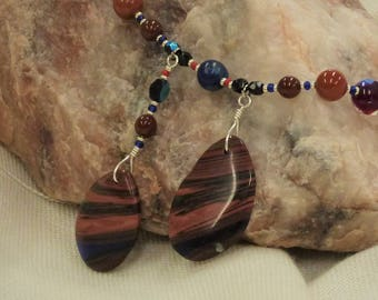 Blue/green fire obsidian beaded pendant necklace, with available matching earrings
