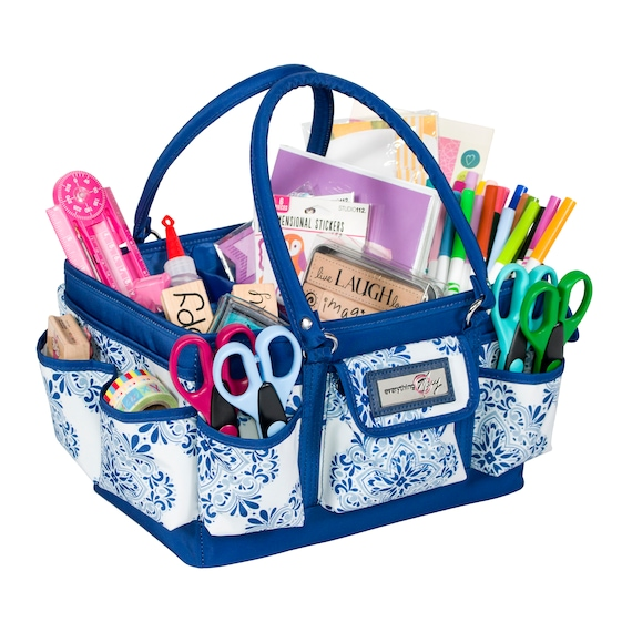 Everything Mary Craft Bag Organizer Tote Storage Art Caddy for Sewing /& Scrapbooking Pill Crafts Supply Carrier w//Handle for Supplies /& Tools Pill Print