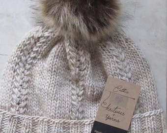 100% Merino Wool Hat with Faux Fur Pom Pom