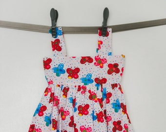 Lightweight cotton dress with printed strap with bow tie - 1 year