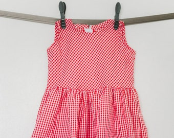 Dress with pockets small gingham and applique strawberries - 2 years