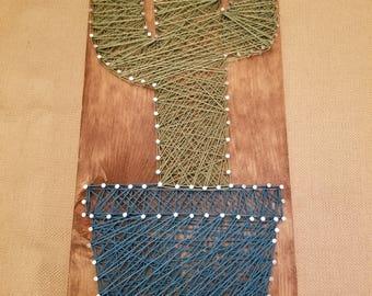 Cactus String Art / Cactus Nail Art / Cactus Wood Art