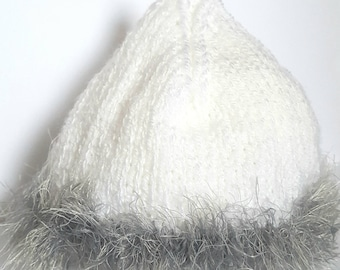 Hand Knitted White And Grey Faux Fur Baby Pixie Hat