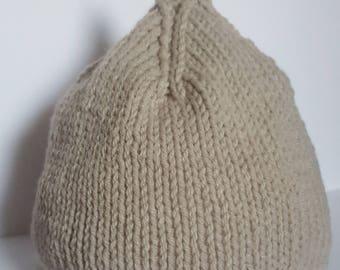 Hand Knitted Soft Grey And White Stripe Baby Pixie Hat