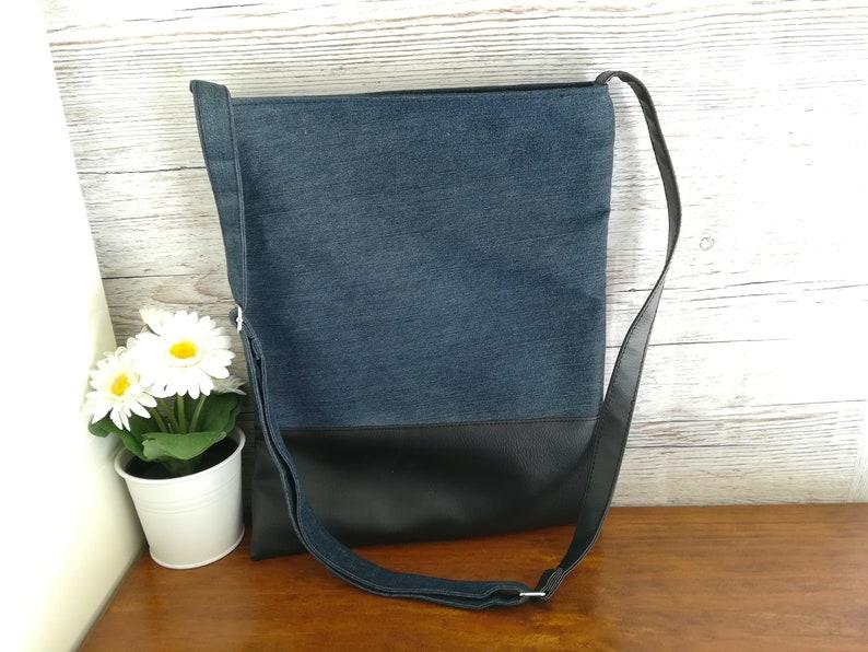Denim crossbody bag Vegan leather messenger bag