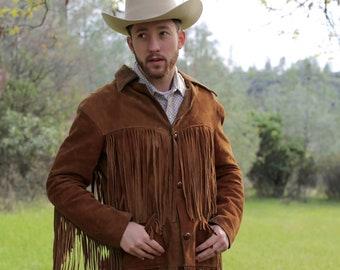 70s Vintage Brown Suede Leather Fringe Men's Western Jacket