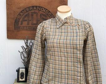 Vintage Women's Western Plaid Flannel Blouse