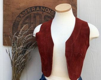 Vintage 60s Leather Suede Women's Crop Vest