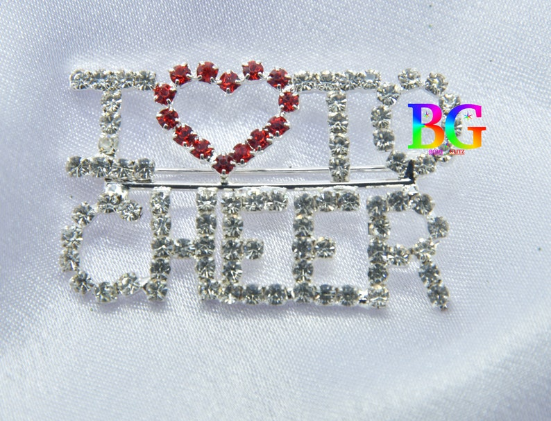 Handmade Brooch Pin Rhinestone Heart Love Cheer Brooch Pin Love Brooch Cheer Brooch Red Heart Brooch Women\u2019s Brooch