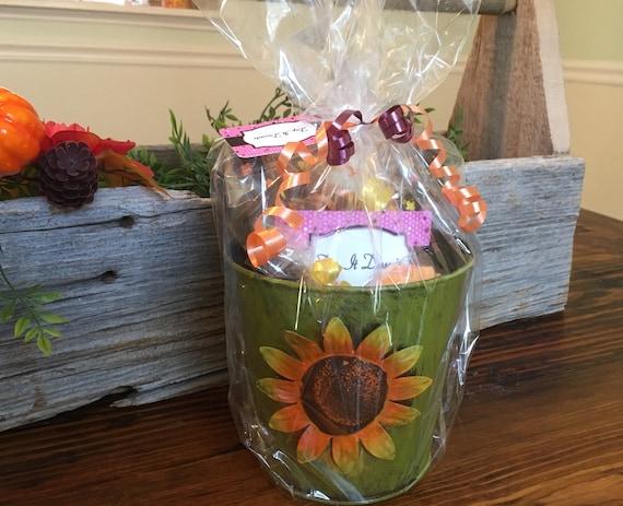 Etsy & Chocolate Sunflower Flower Pot Gift Basket - Sunflower Gift Basket - Fall Gifts - Autumn Gifts- Hostess Gift Basket - Thanksgiving Gift
