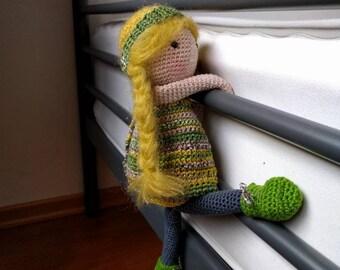 Cute, crocheted doll.