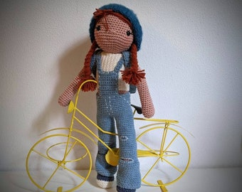 Handmade girl doll, with 4 sets of clothes.